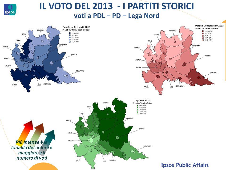 IL VOTO DEL 2013 - I PARTITI STORICI voti a PDL – PD – Lega Nord Più intensa è la tonalità del colore e maggiore è il numero di voti