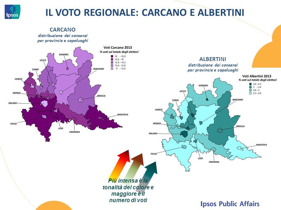 IL VOTO REGIONALE: CARCANO E ALBERTINI CARCANO distribuzione dei consensi per provincie e capoluoghi Più intensa è la tonalità del colore e maggiore è il numero di voti ALBERTINI distribuzione dei consensi per provincie e capoluoghi