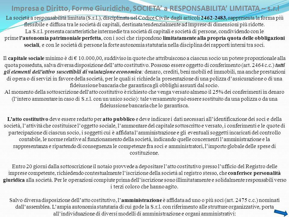 Impresa e Diritto, Forme Giuridiche, SOCIETA a RESPONSABILITA LIMITATA – s.r.l La società a responsabilità limitata (S.r.l.), disciplinata nel Codice