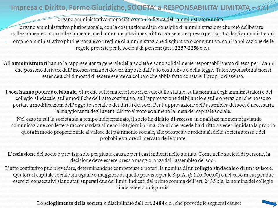 Impresa e Diritto, Forme Giuridiche, SOCIETA a RESPONSABILITA LIMITATA – s.r.l - organo amministrativo monocratico, con la figura dellamministratore u