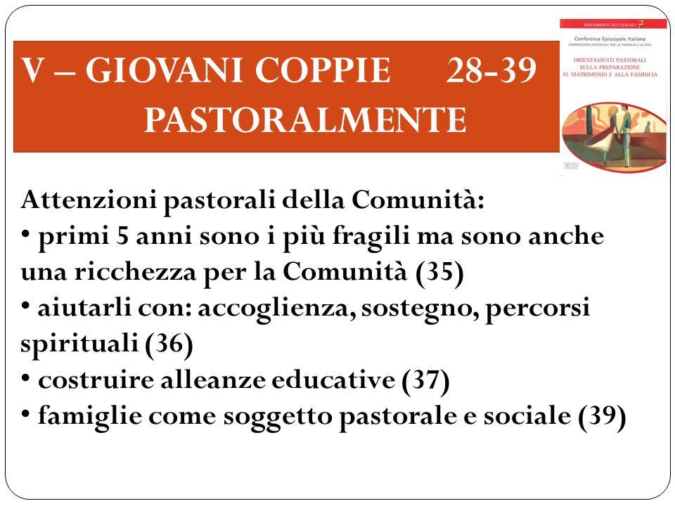 V – GIOVANI COPPIE 28-39 PASTORALMENTE Attenzioni pastorali della Comunità: primi 5 anni sono i più fragili ma sono anche una ricchezza per la Comunit