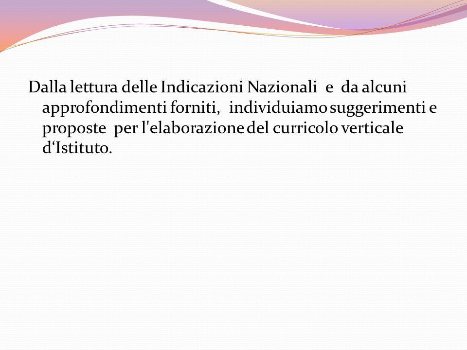 Dalla lettura delle Indicazioni Nazionali e da alcuni approfondimenti forniti, individuiamo suggerimenti e proposte per l'elaborazione del curricolo v