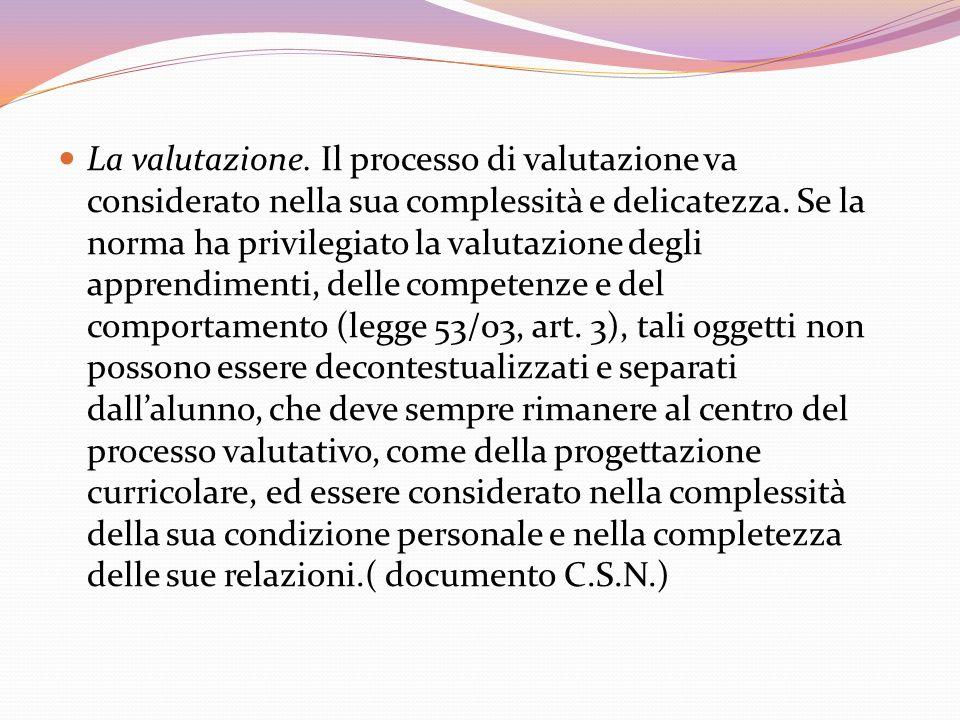 La valutazione. Il processo di valutazione va considerato nella sua complessità e delicatezza. Se la norma ha privilegiato la valutazione degli appren