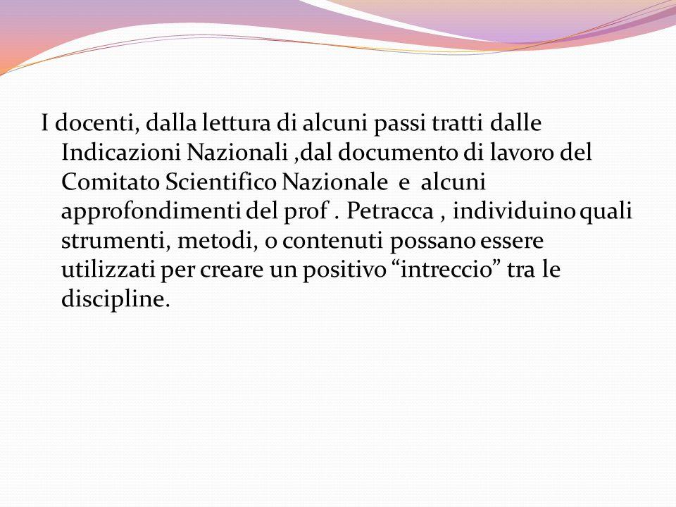 I docenti, dalla lettura di alcuni passi tratti dalle Indicazioni Nazionali,dal documento di lavoro del Comitato Scientifico Nazionale e alcuni approf