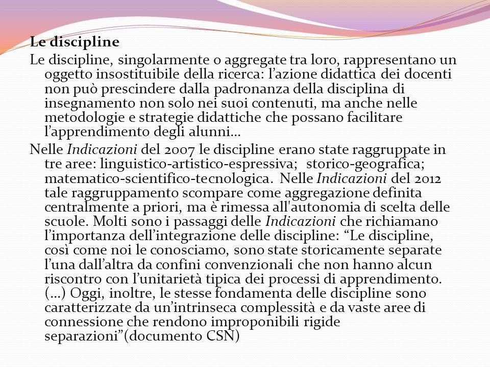 Le discipline Le discipline, singolarmente o aggregate tra loro, rappresentano un oggetto insostituibile della ricerca: lazione didattica dei docenti