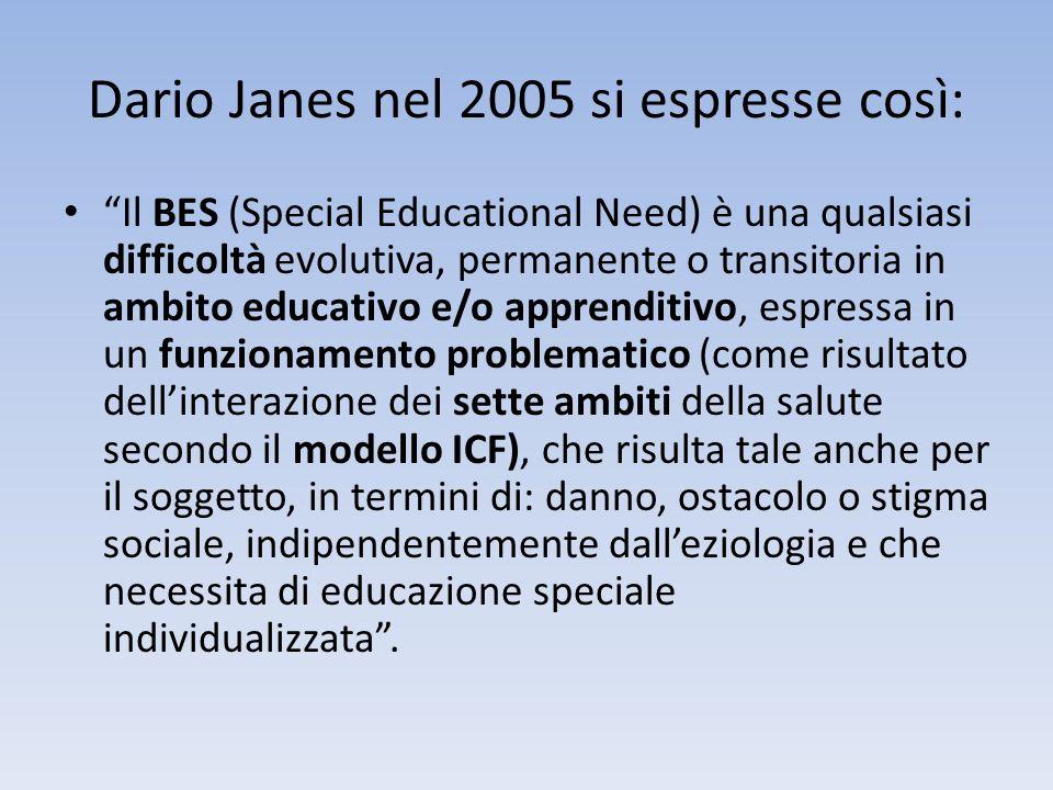 Dario Janes nel 2005 si espresse così: Il BES (Special Educational Need) è una qualsiasi difficoltà evolutiva, permanente o transitoria in ambito educ