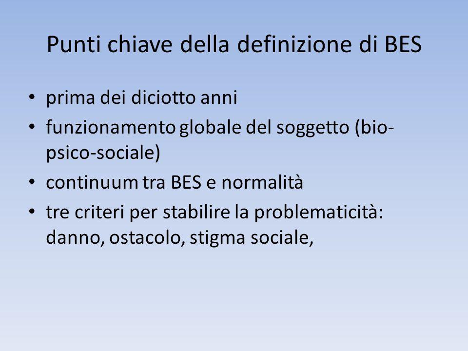 Punti chiave della definizione di BES prima dei diciotto anni funzionamento globale del soggetto (bio- psico-sociale) continuum tra BES e normalità tr
