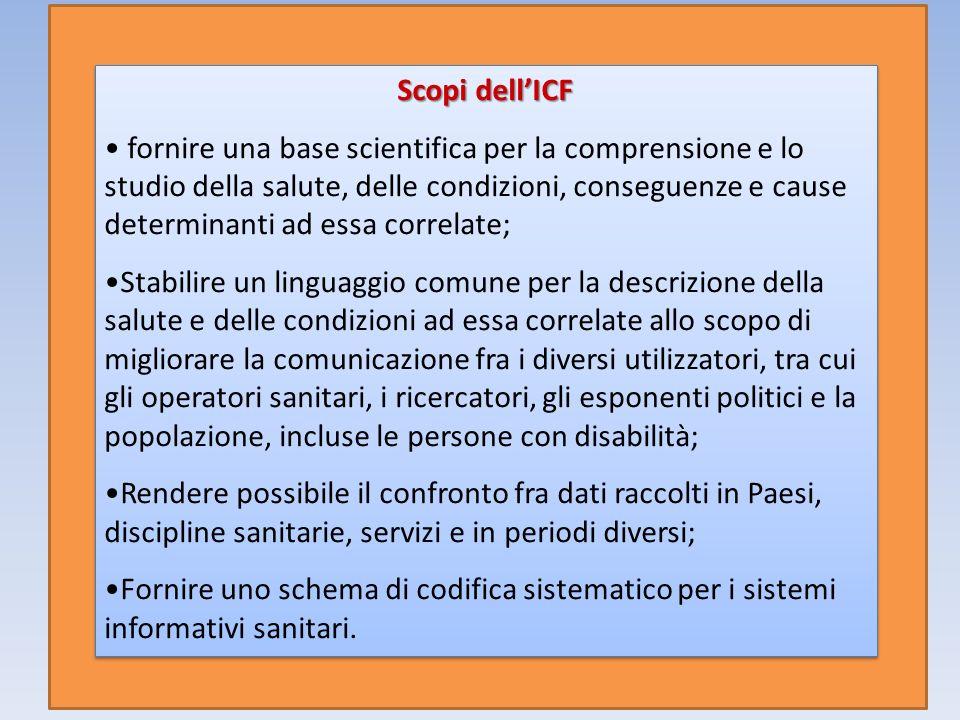Scopi dellICF fornire una base scientifica per la comprensione e lo studio della salute, delle condizioni, conseguenze e cause determinanti ad essa co