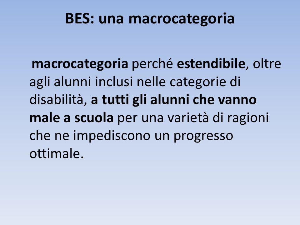 BES: una macrocategoria macrocategoria perché estendibile, oltre agli alunni inclusi nelle categorie di disabilità, a tutti gli alunni che vanno male