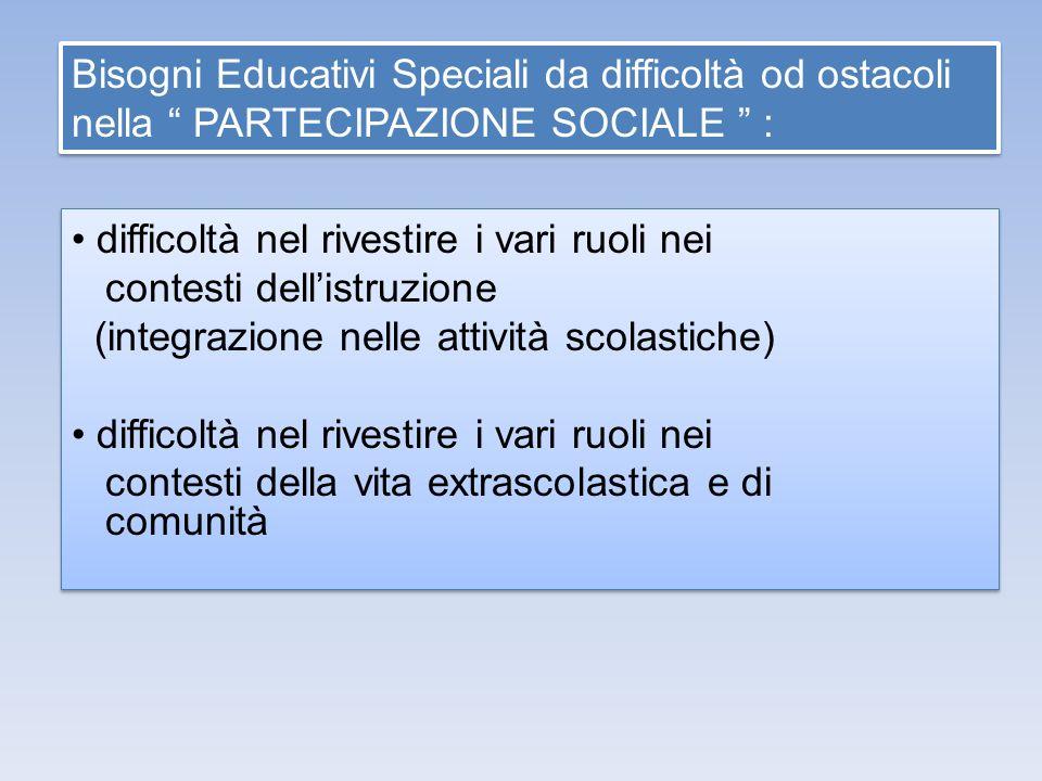Bisogni Educativi Speciali da difficoltà od ostacoli nella PARTECIPAZIONE SOCIALE : difficoltà nel rivestire i vari ruoli nei contesti dellistruzione
