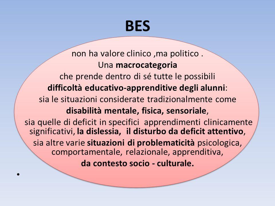 BES non ha valore clinico,ma politico. Una macrocategoria che prende dentro di sé tutte le possibili difficoltà educativo-apprenditive degli alunni: s
