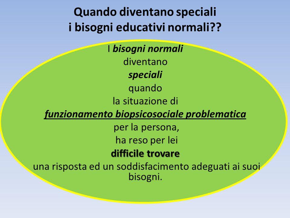 Quando diventano speciali i bisogni educativi normali?? I bisogni normali diventano speciali quando la situazione di funzionamento biopsicosociale pro