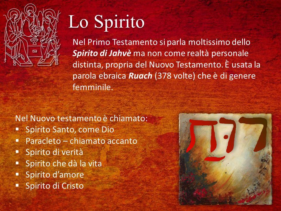 Lo Spirito Nel Primo Testamento si parla moltissimo dello Spirito di Jahvè ma non come realtà personale distinta, propria del Nuovo Testamento.