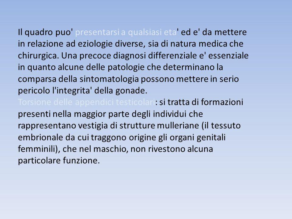 Il quadro puo' presentarsi a qualsiasi eta' ed e' da mettere in relazione ad eziologie diverse, sia di natura medica che chirurgica. Una precoce diagn