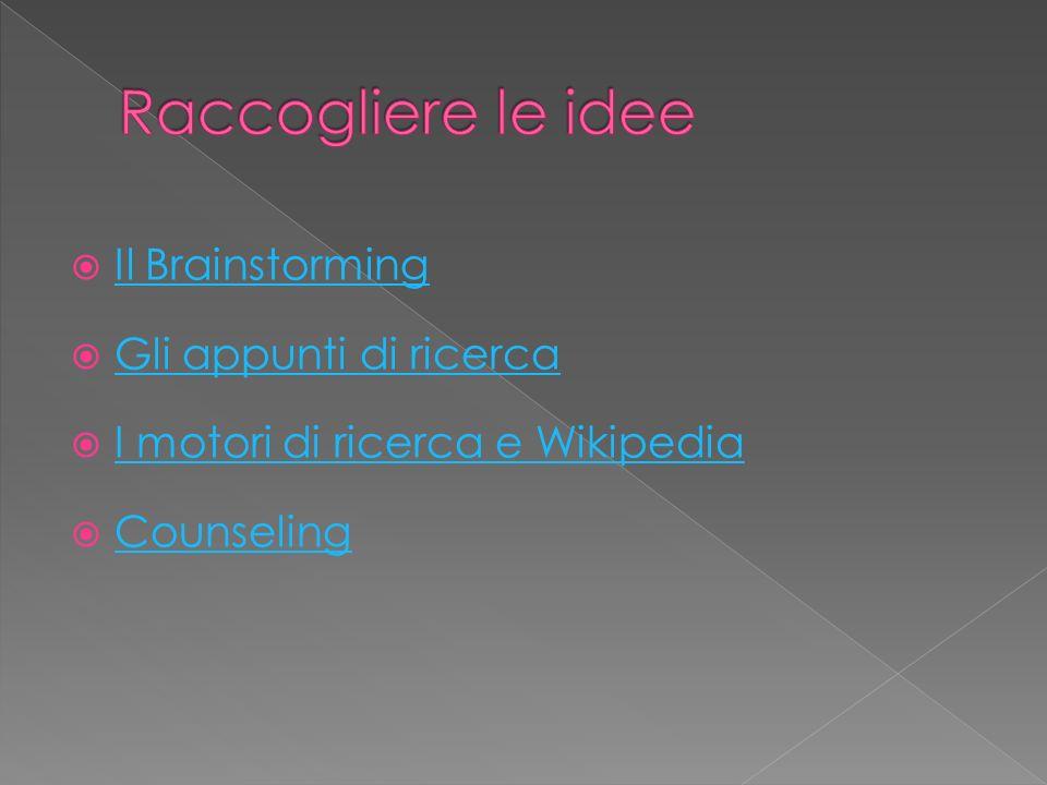 Il Brainstorming Gli appunti di ricerca I motori di ricerca e Wikipedia Counseling