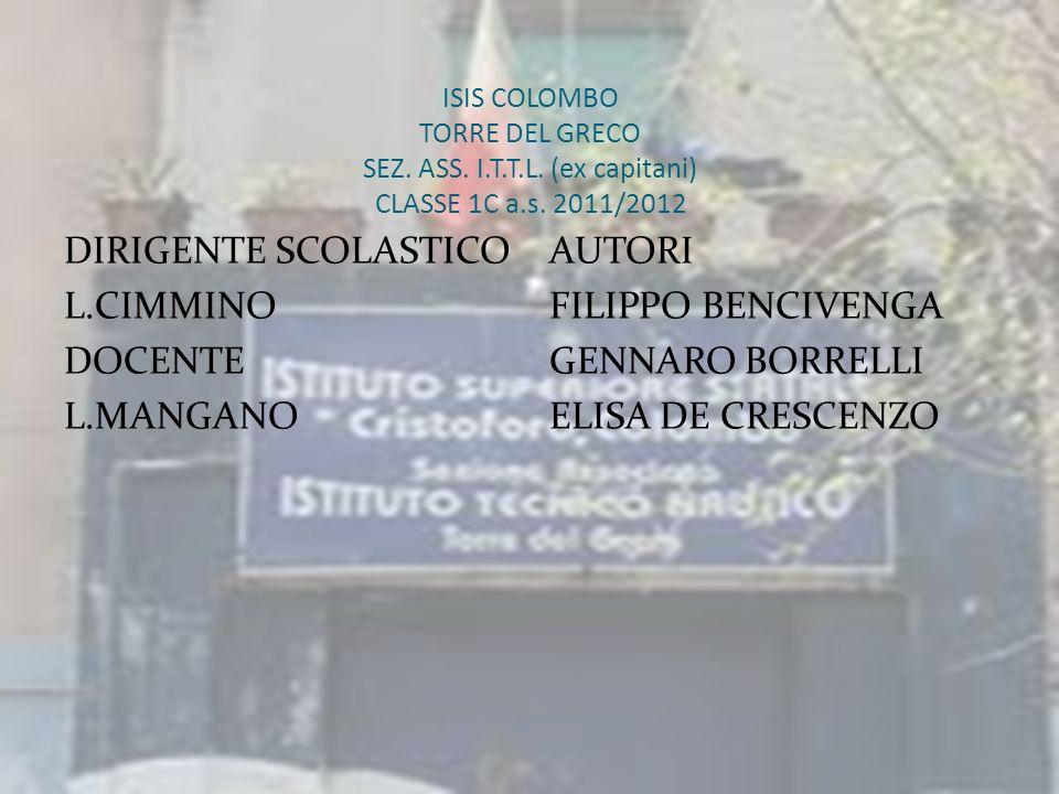 ISIS COLOMBO TORRE DEL GRECO SEZ. ASS. I.T.T.L. (ex capitani) CLASSE 1C a.s. 2011/2012 DIRIGENTE SCOLASTICO L.CIMMINO DOCENTE L.MANGANO AUTORI FILIPPO