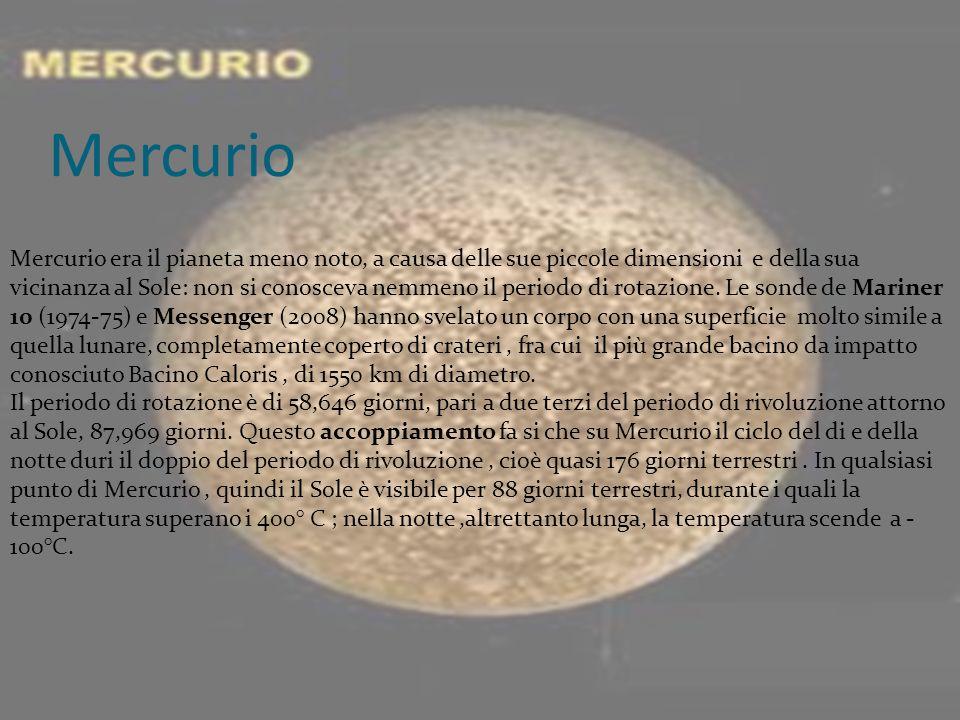 Mercurio Mercurio era il pianeta meno noto, a causa delle sue piccole dimensioni e della sua vicinanza al Sole: non si conosceva nemmeno il periodo di