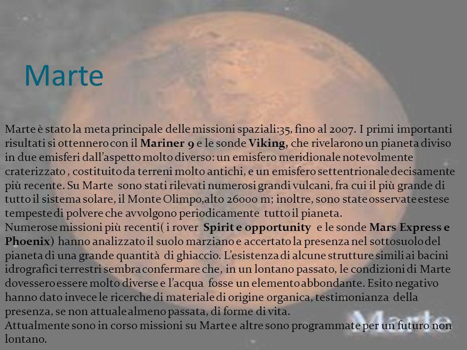 Marte Marte è stato la meta principale delle missioni spaziali:35, fino al 2007. I primi importanti risultati si ottennero con il Mariner 9 e le sonde