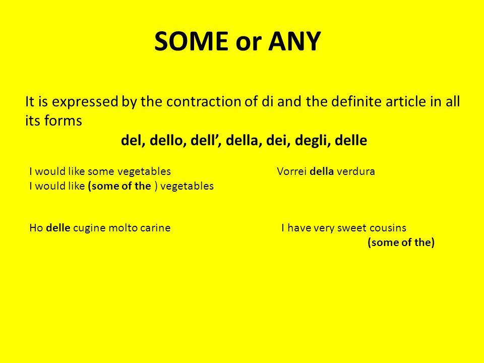 SOME or ANY It is expressed by the contraction of di and the definite article in all its forms del, dello, dell, della, dei, degli, delle I would like