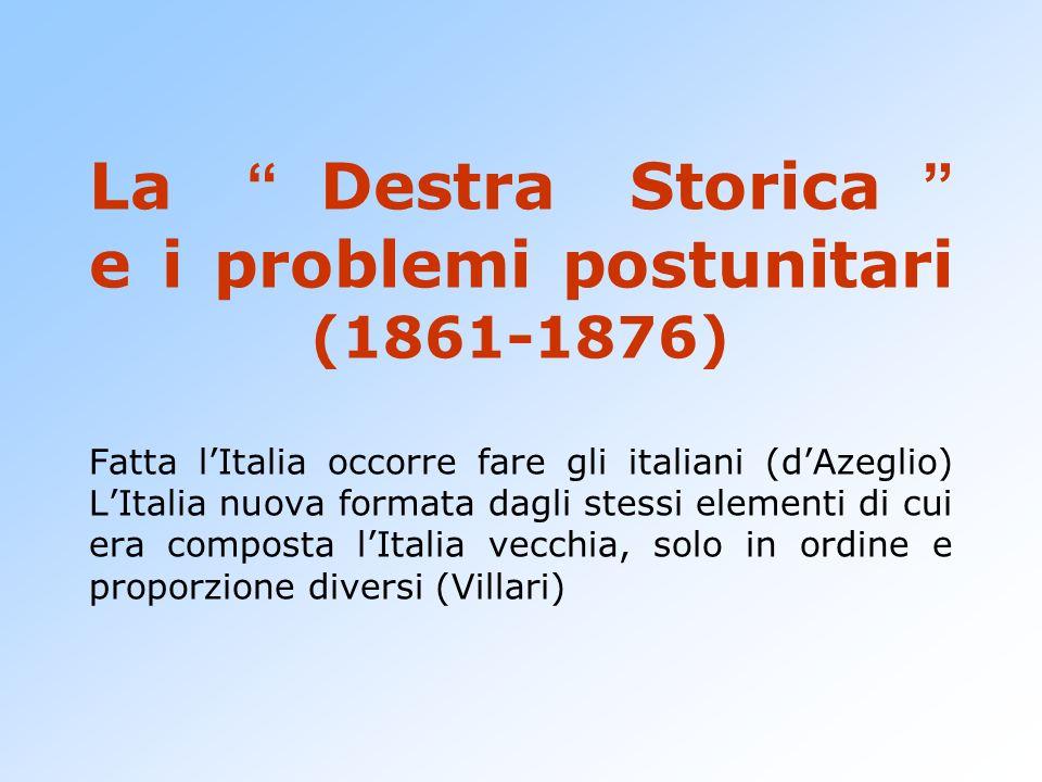 La Destra Storica e i problemi postunitari (1861-1876) Fatta lItalia occorre fare gli italiani (dAzeglio) LItalia nuova formata dagli stessi elementi