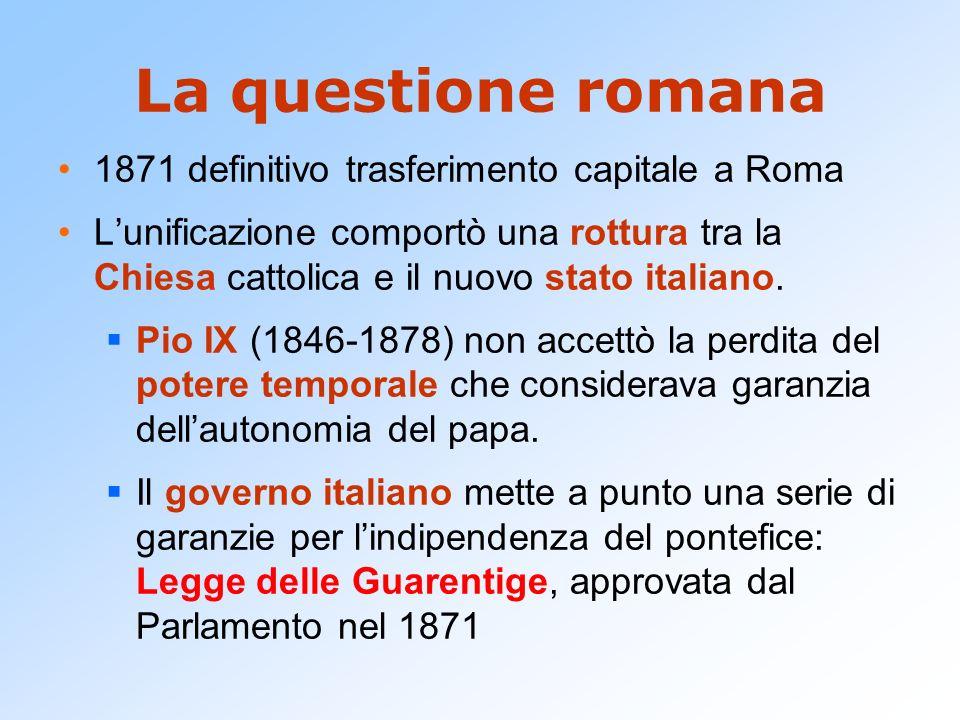 La questione romana 1871 definitivo trasferimento capitale a Roma Lunificazione comportò una rottura tra la Chiesa cattolica e il nuovo stato italiano