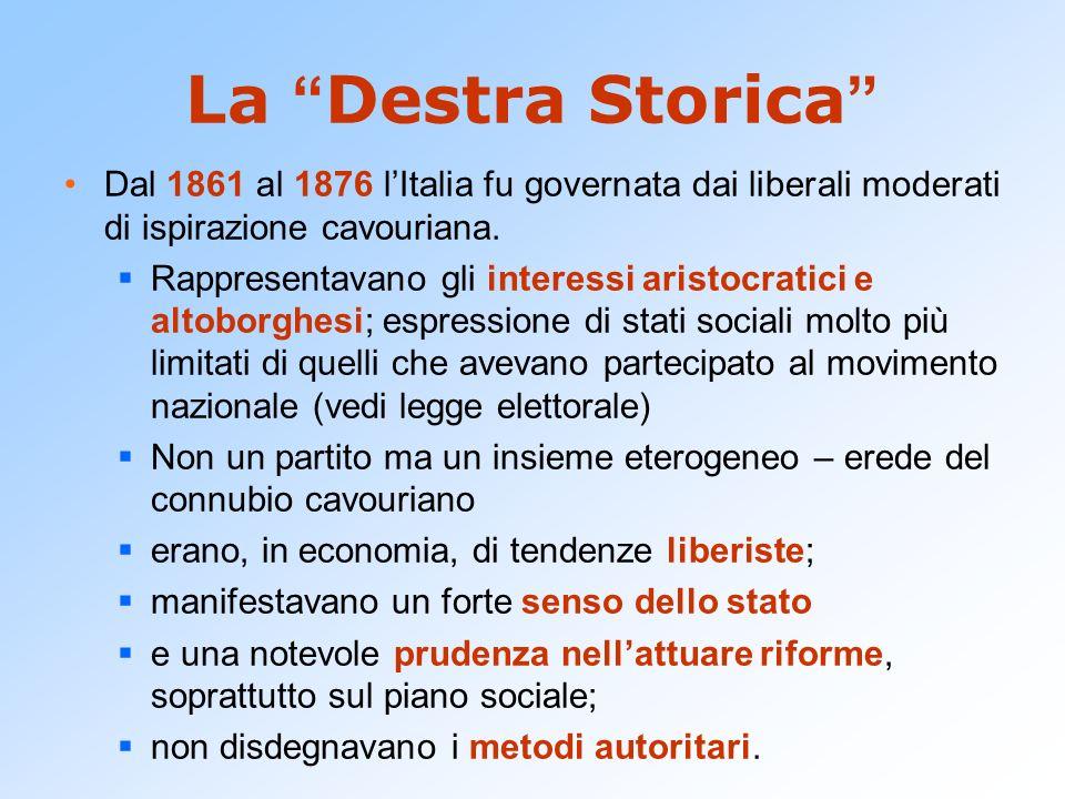La Destra Storica Dal 1861 al 1876 lItalia fu governata dai liberali moderati di ispirazione cavouriana. Rappresentavano gli interessi aristocratici e