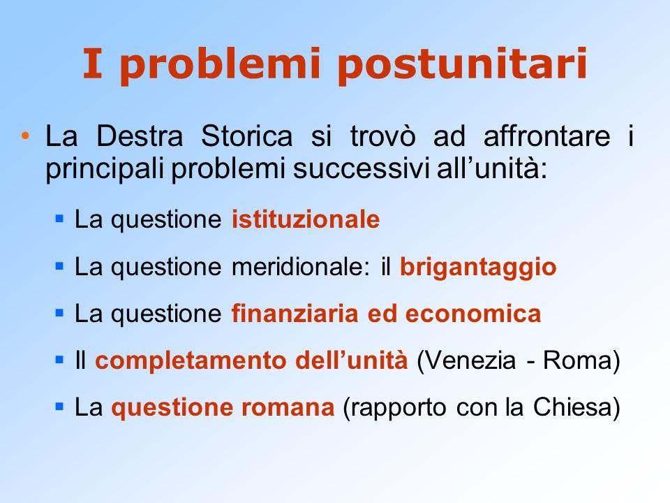 I problemi postunitari La Destra Storica si trovò ad affrontare i principali problemi successivi allunità: La questione istituzionale La questione mer