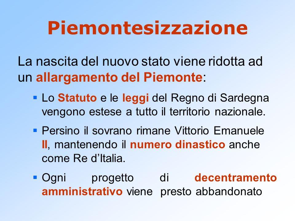 Piemontesizzazione La nascita del nuovo stato viene ridotta ad un allargamento del Piemonte: Lo Statuto e le leggi del Regno di Sardegna vengono estes