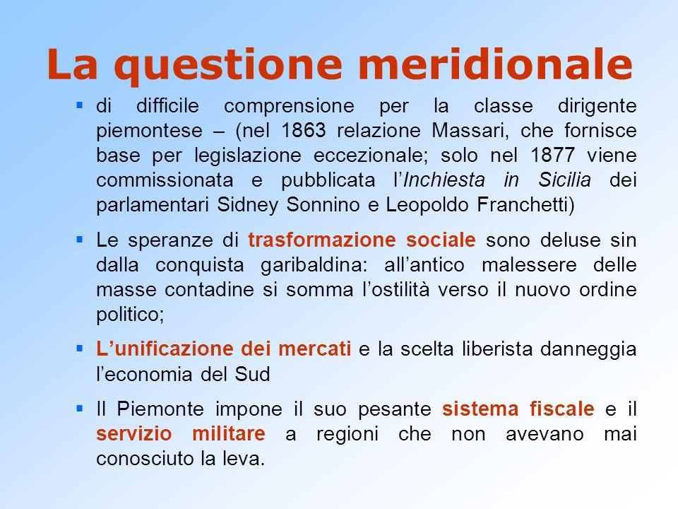 La questione meridionale di difficile comprensione per la classe dirigente piemontese – (nel 1863 relazione Massari, che fornisce base per legislazion