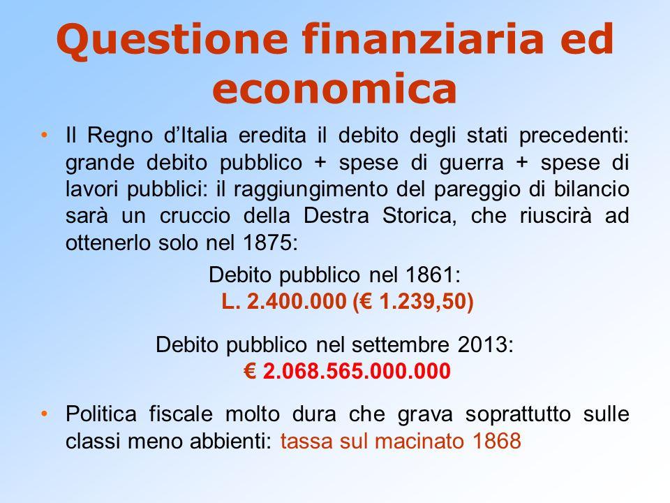 Questione finanziaria ed economica Il Regno dItalia eredita il debito degli stati precedenti: grande debito pubblico + spese di guerra + spese di lavo