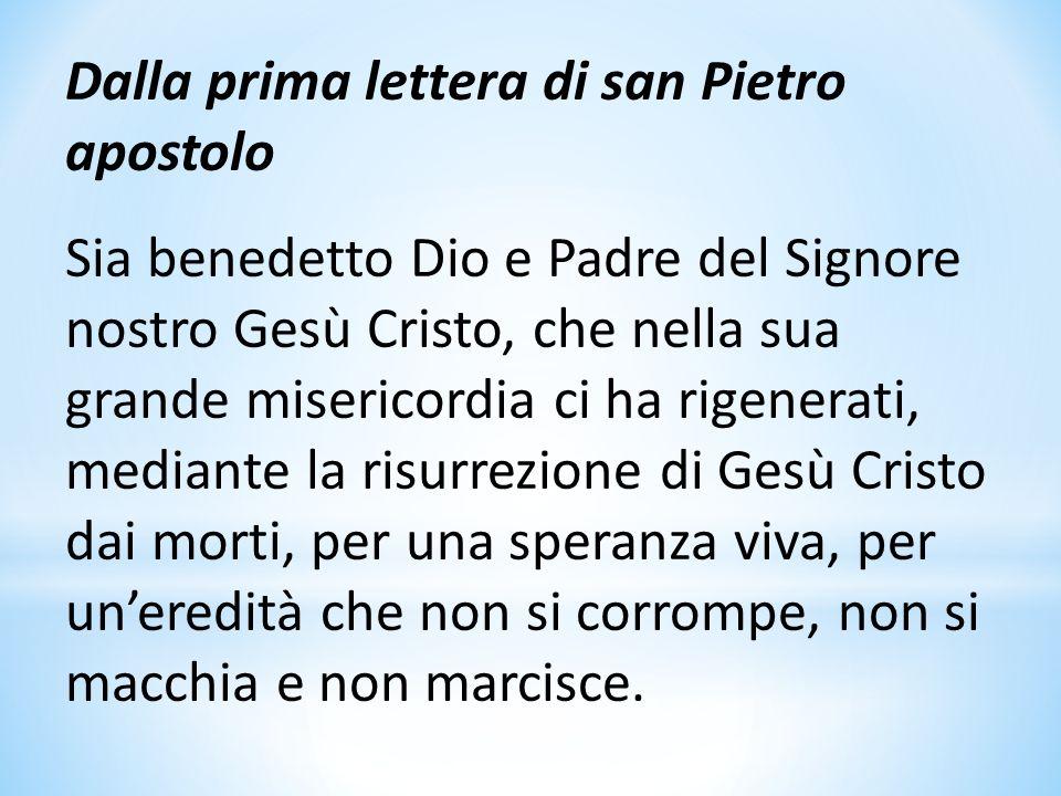 Dalla prima lettera di san Pietro apostolo Sia benedetto Dio e Padre del Signore nostro Gesù Cristo, che nella sua grande misericordia ci ha rigenerat