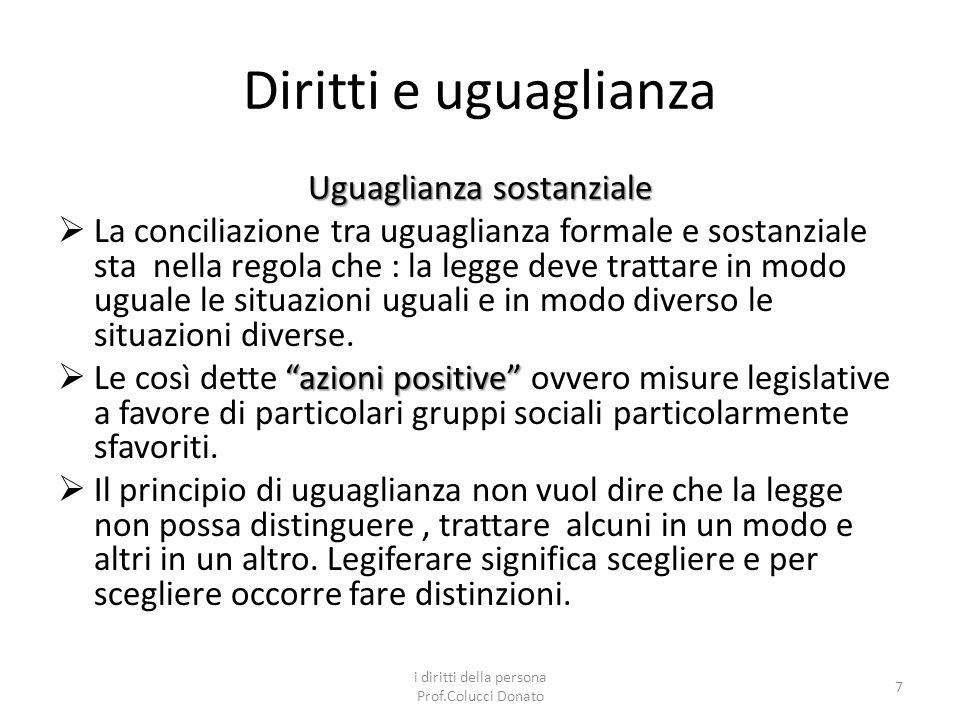 Classificazione dei diritti Diritti negativi Diritti negativi : diritti a NON essere impediti nello svolgimento di particolari attività.