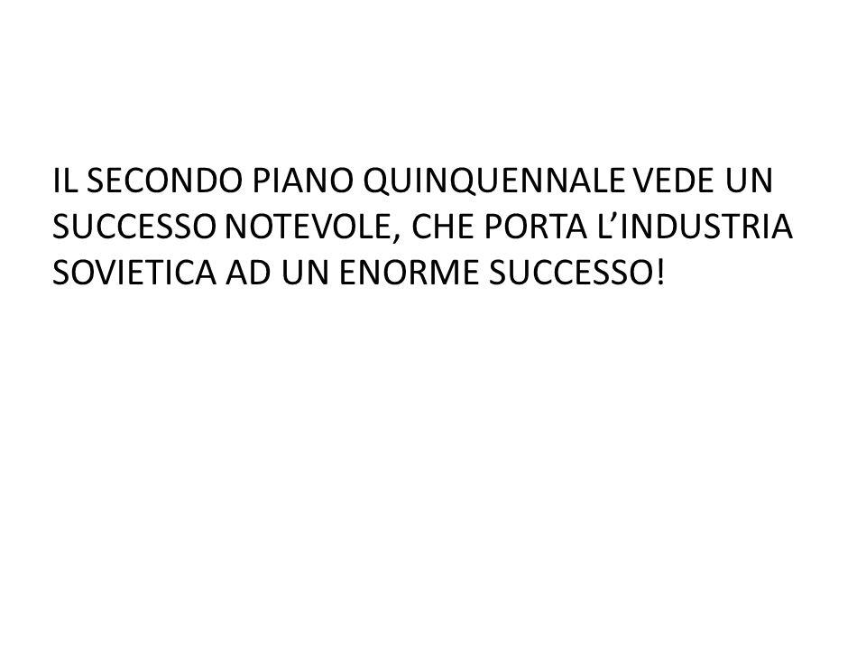 IL SECONDO PIANO QUINQUENNALE VEDE UN SUCCESSO NOTEVOLE, CHE PORTA LINDUSTRIA SOVIETICA AD UN ENORME SUCCESSO!