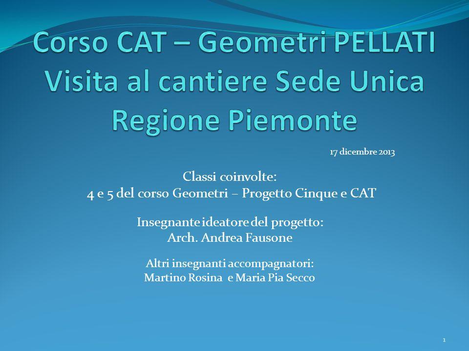 17 dicembre 2013 Classi coinvolte: 4 e 5 del corso Geometri – Progetto Cinque e CAT Insegnante ideatore del progetto: Arch.