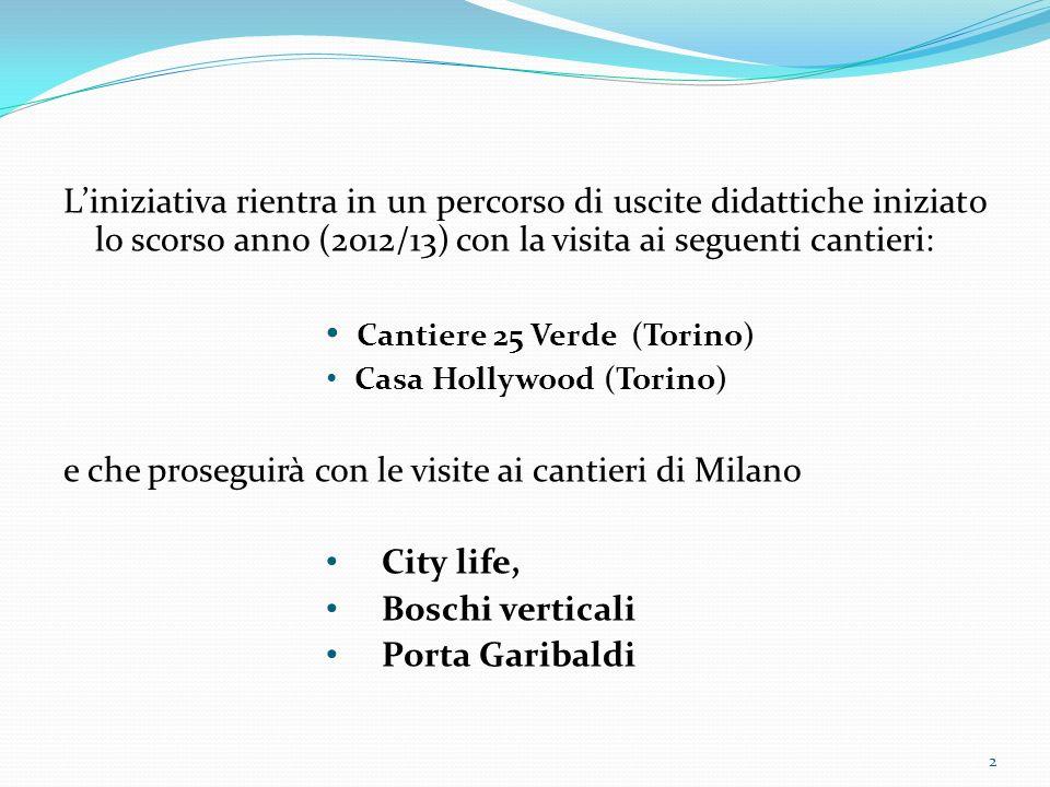 Liniziativa rientra in un percorso di uscite didattiche iniziato lo scorso anno (2012/13) con la visita ai seguenti cantieri: Cantiere 25 Verde (Torino) Casa Hollywood (Torino) e che proseguirà con le visite ai cantieri di Milano City life, Boschi verticali Porta Garibaldi 2