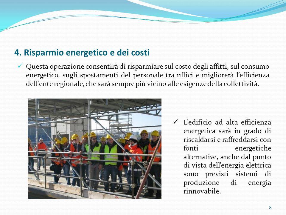 4. Risparmio energetico e dei costi Questa operazione consentirà di risparmiare sul costo degli affitti, sul consumo energetico, sugli spostamenti del