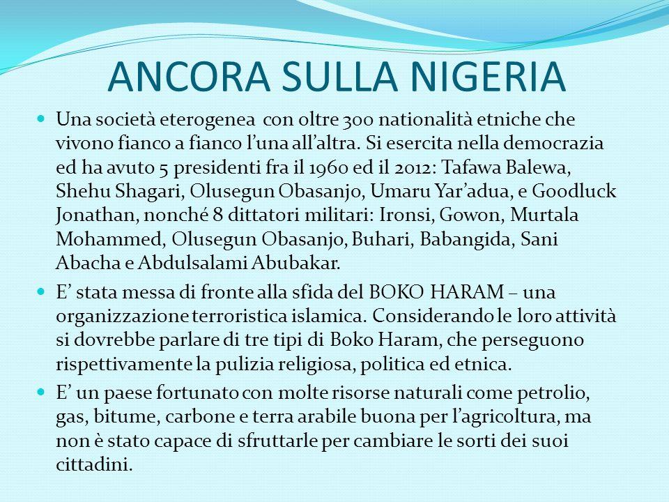 ALCUNI DATI SULLA NIGERIA E la più popolosa nazione nera.