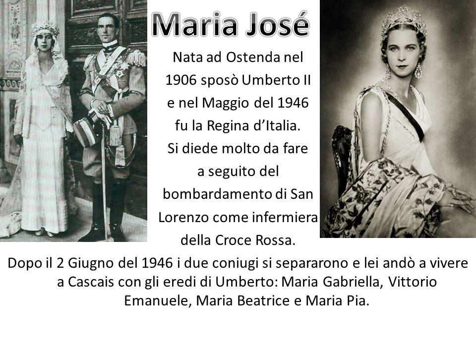 Nata ad Ostenda nel 1906 sposò Umberto II e nel Maggio del 1946 fu la Regina dItalia. Si diede molto da fare a seguito del bombardamento di San Lorenz