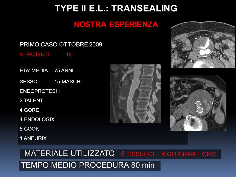 N. PAZIENTI 16 ETA MEDIA75 ANNI SESSO15 MASCHI ENDOPROTESI : 2 TALENT 4 GORE 4 ENDOLOGIX 5 COOK 1 ANEURIX PRIMO CASO OTTOBRE 2009 TYPE II E.L.: TRANSE