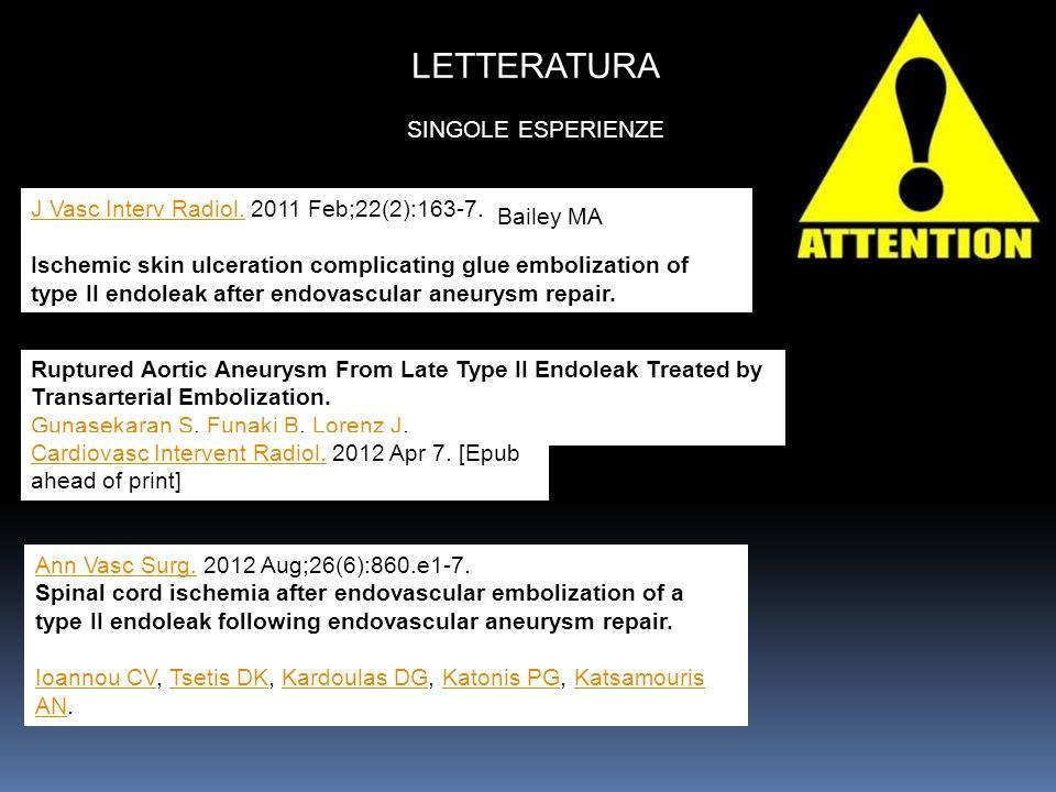 J Vasc Interv Radiol.J Vasc Interv Radiol. 2011 Feb;22(2):163-7. Ischemic skin ulceration complicating glue embolization of type II endoleak after end