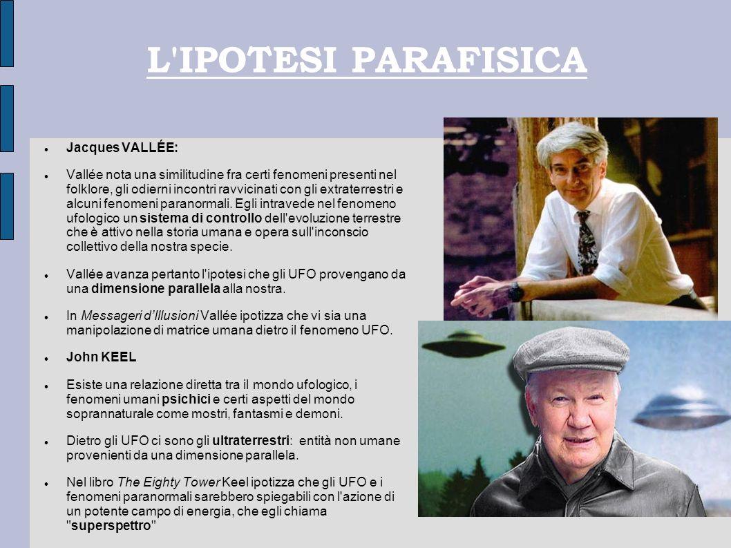 L'IPOTESI PARAFISICA Jacques VALLÉE: Vallée nota una similitudine fra certi fenomeni presenti nel folklore, gli odierni incontri ravvicinati con gli e