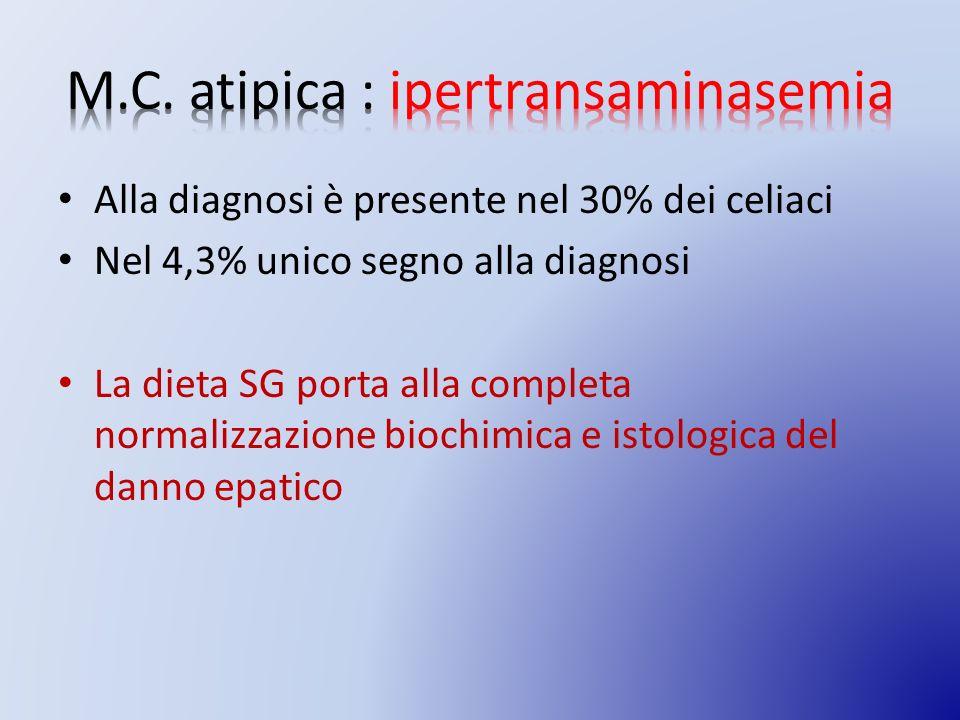 Alla diagnosi è presente nel 30% dei celiaci Nel 4,3% unico segno alla diagnosi La dieta SG porta alla completa normalizzazione biochimica e istologica del danno epatico