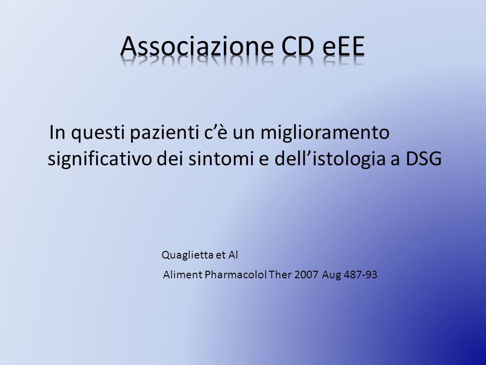 In questi pazienti cè un miglioramento significativo dei sintomi e dellistologia a DSG Quaglietta et Al Aliment Pharmacolol Ther 2007 Aug 487-93