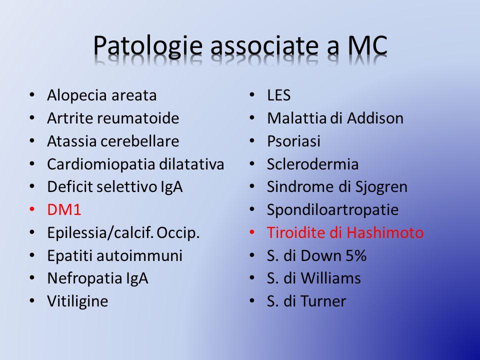 Alopecia areata Artrite reumatoide Atassia cerebellare Cardiomiopatia dilatativa Deficit selettivo IgA DM1 Epilessia/calcif.