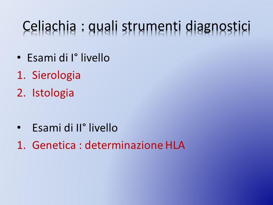Esami di I° livello 1.Sierologia 2.Istologia Esami di II° livello 1.Genetica : determinazione HLA