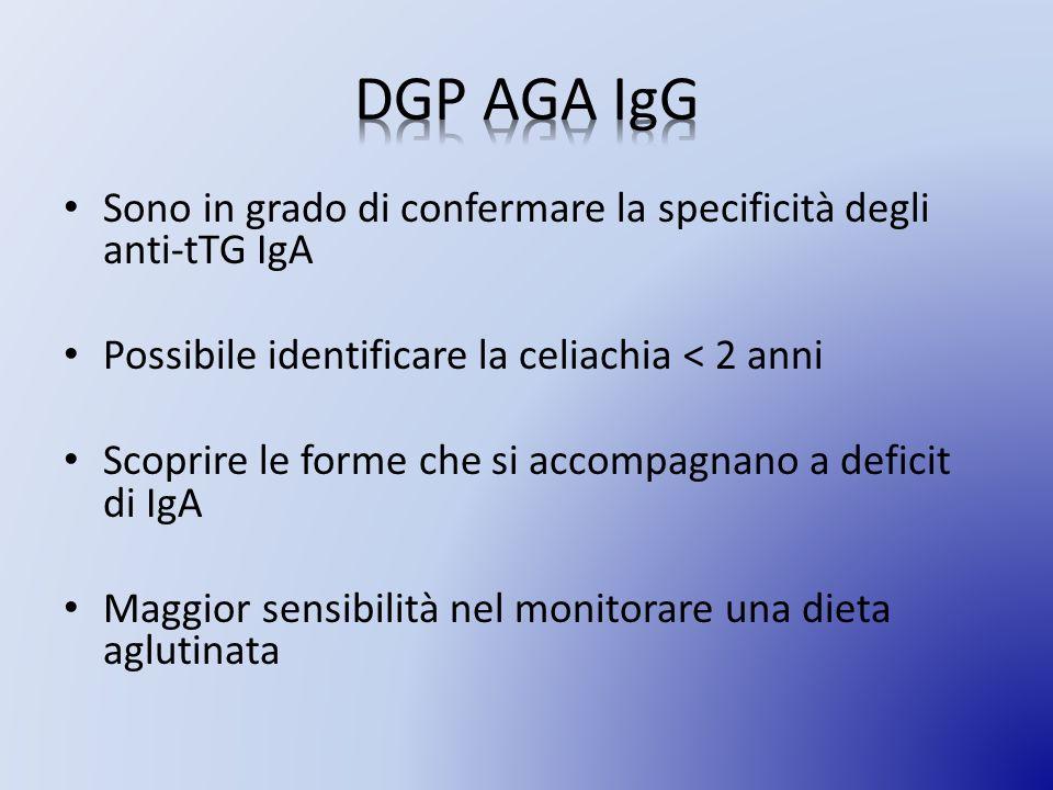 Sono in grado di confermare la specificità degli anti-tTG IgA Possibile identificare la celiachia < 2 anni Scoprire le forme che si accompagnano a deficit di IgA Maggior sensibilità nel monitorare una dieta aglutinata