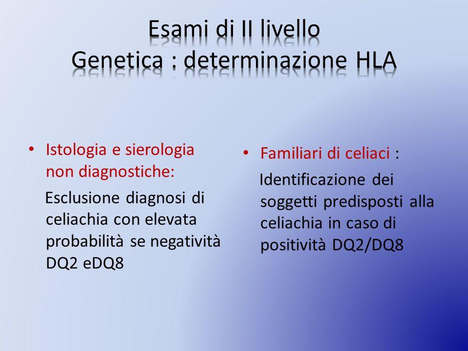 Istologia e sierologia non diagnostiche: Esclusione diagnosi di celiachia con elevata probabilità se negatività DQ2 eDQ8 Familiari di celiaci : Identificazione dei soggetti predisposti alla celiachia in caso di positività DQ2/DQ8