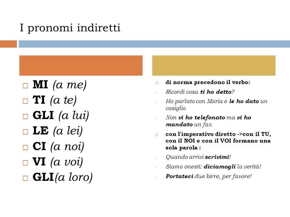 I pronomi indiretti MI (a me) TI (a te) GLI (a lui) LE (a lei) CI (a noi) VI (a voi) GLI (a loro) di norma precedono il verbo: - Ricordi cosa ti ho detto .