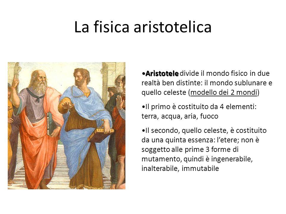 La fisica aristotelica AristoteleAristotele divide il mondo fisico in due realtà ben distinte: il mondo sublunare e quello celeste (modello dei 2 mond