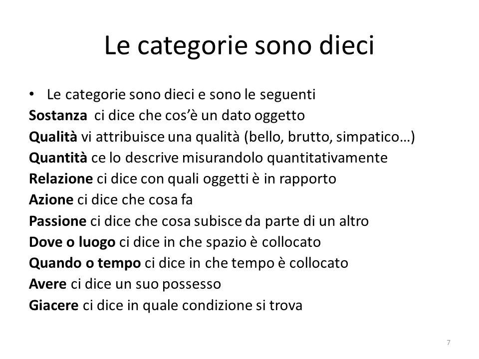 Le categorie sono dieci Le categorie sono dieci e sono le seguenti Sostanza ci dice che cosè un dato oggetto Qualità vi attribuisce una qualità (bello